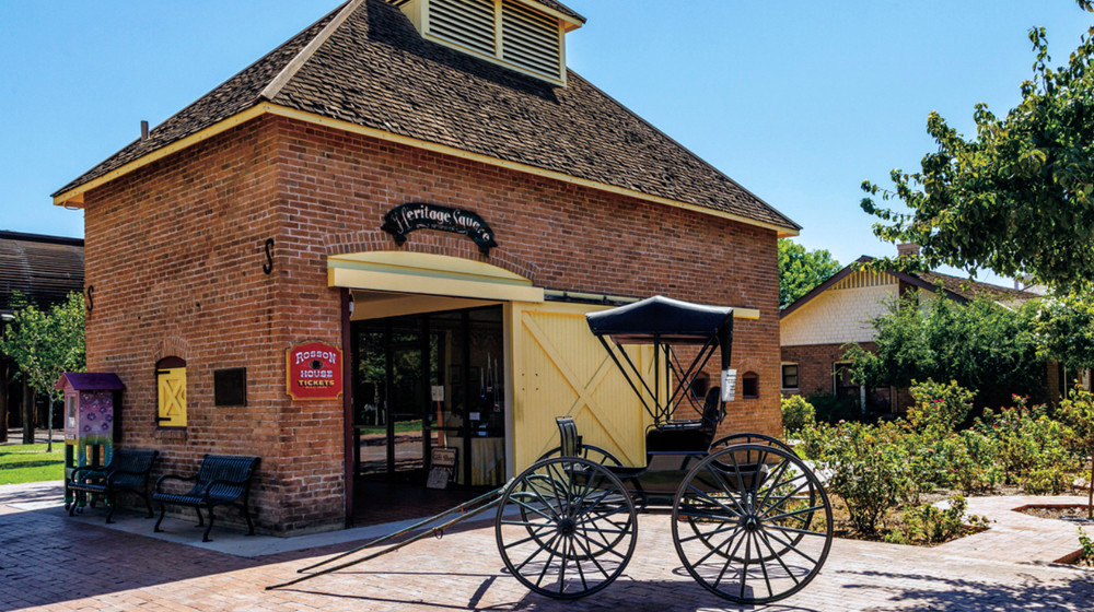 The Burgess Carriage House, constructed circa 1881, is the ticket office for the Rosson House.