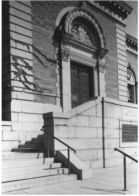 Front Door of the Public Library by Gregory Clancey in October of 1983, Public Domain Photo Provided by NPS