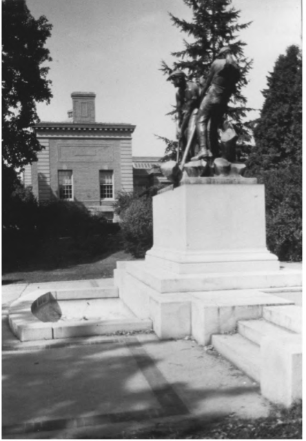 Pierce Park Next to the Library and the Tefft Statue by Gregory Clancey in October of 1983, Public Domain Photo Provided by NPS