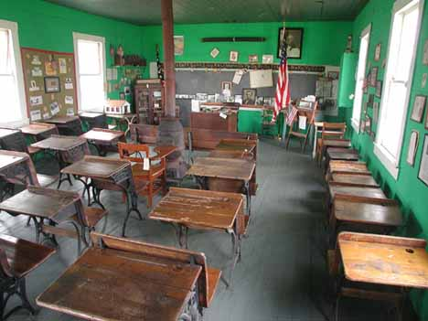 The one room school was moved two miles to the museum complex