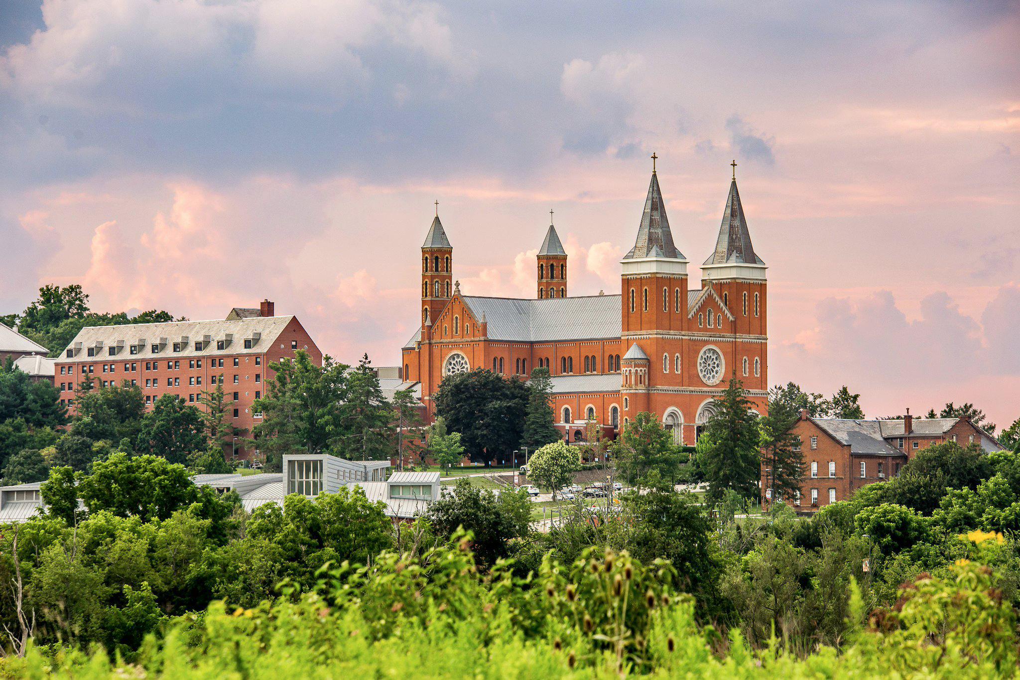 Saint Vincent Basilica rises from the beautiful Pennsylvania landscape. Photo by Saint Vincent College.