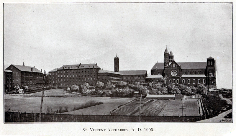 Saint Vincent Basilica and campus buildings in 1905.