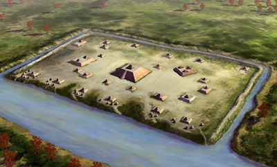 Artist Herb Roe's rendering of what the Holly Bluff site may have looked like from above.