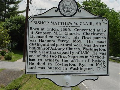 Historical marker -  Union, West Virginia Bishop Matthew W. Clair, Sr. 