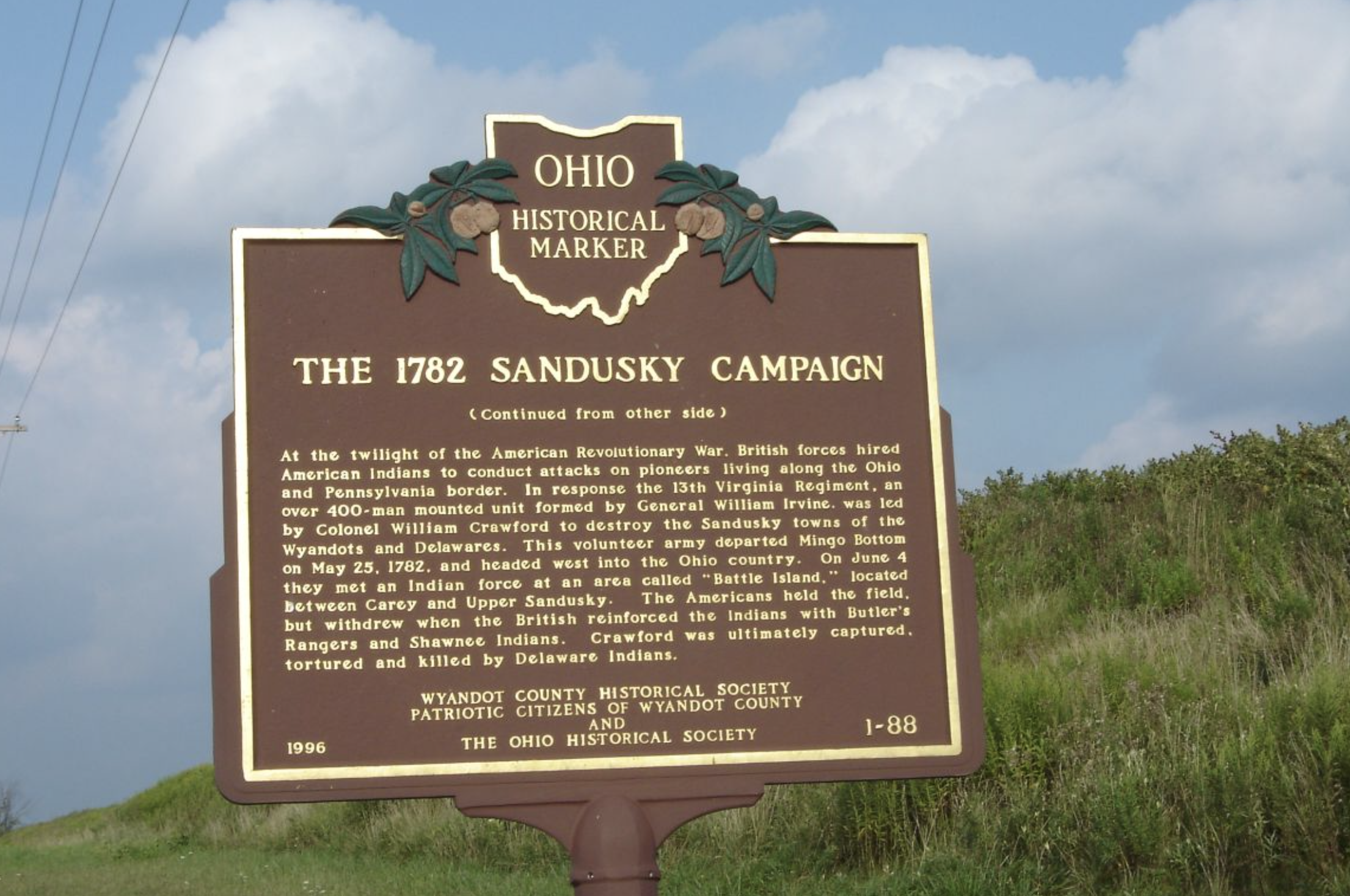 The Ohio Historical Society's marker near the Colonel Crawford Burn Site