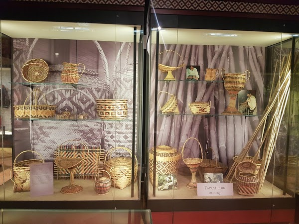 The museum features many artifacts and items on display including these baskets.