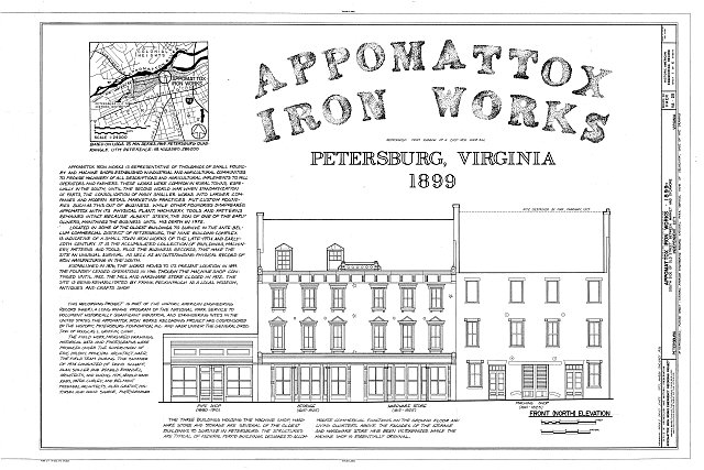 The Historic American Buildings Survey (HABS) documents places like Appomattox Iron Works with scale drawings and photographs as a form of preservation.
