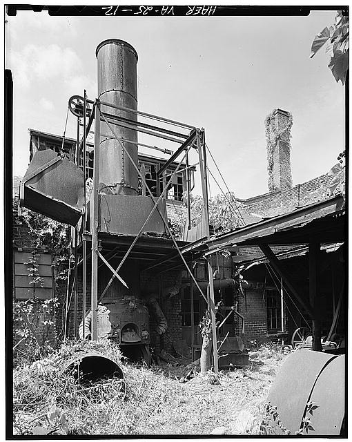 The cupola furnace was used to melt cast iron. Photo by HABS.