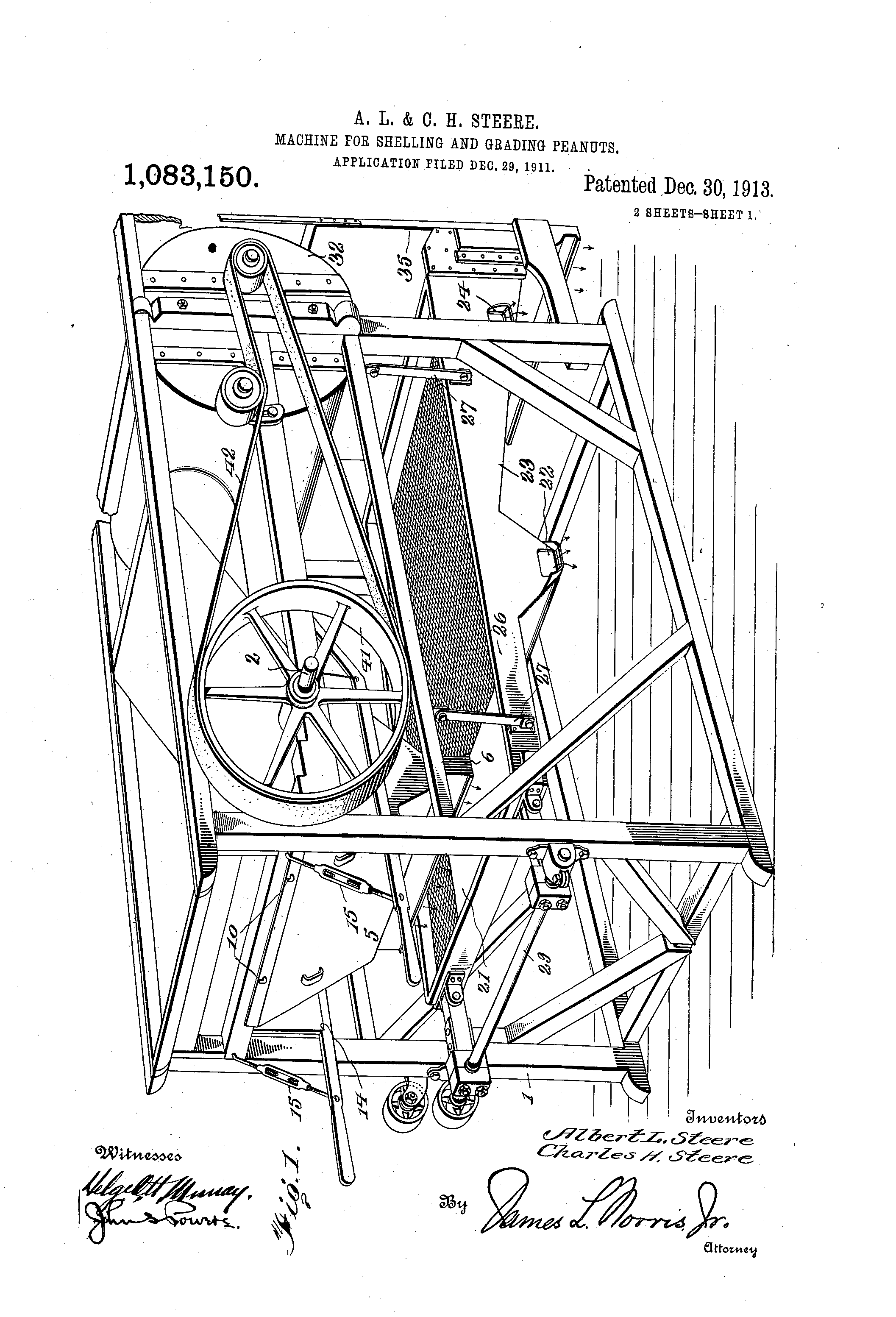 The 1913 peanut shelling and grading machine patented by Albert and Charles Steere.