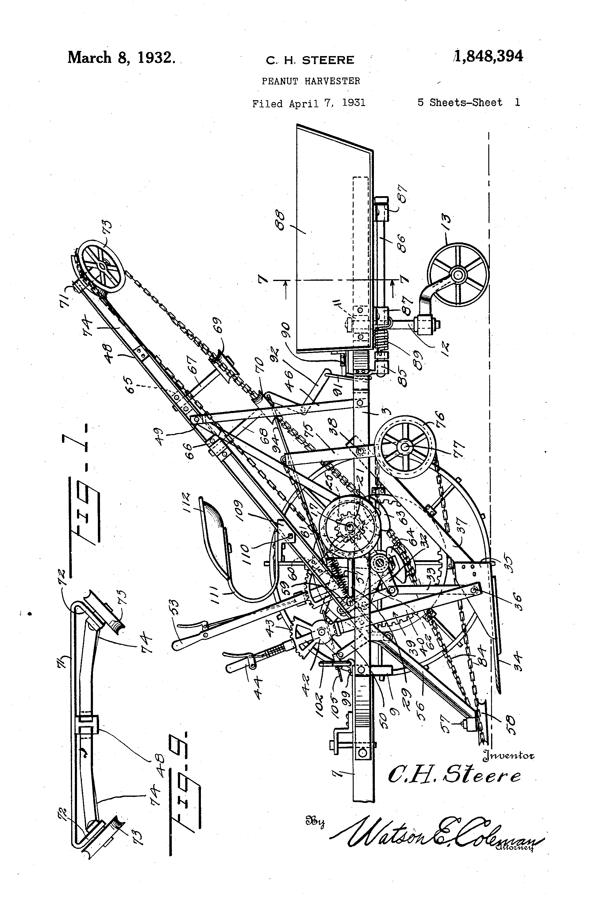 The 1934 peanut harvester patented by Charles Steere.