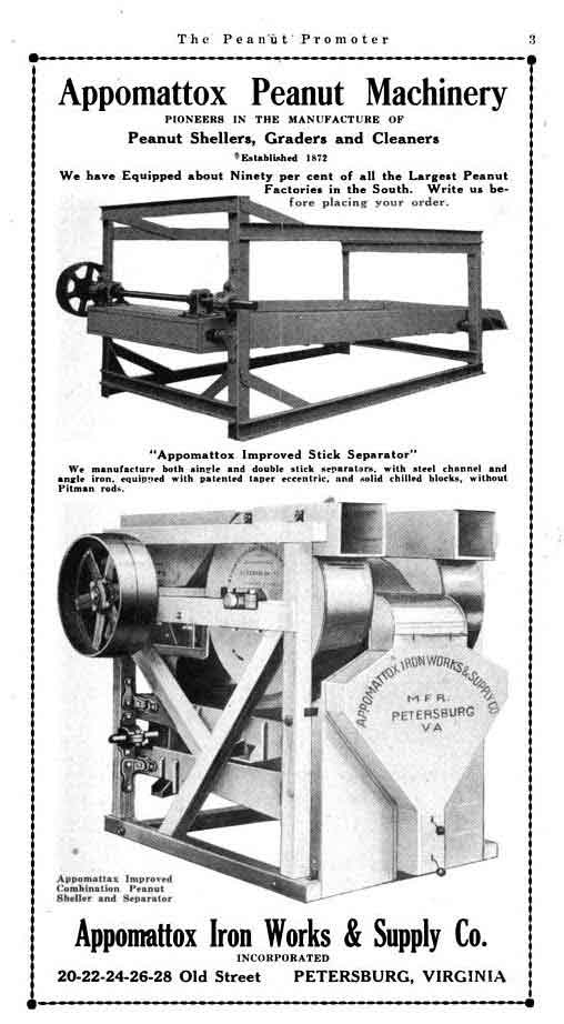 Ad for the peanut machines in February 1921 edition of The Peanut Promoter.
