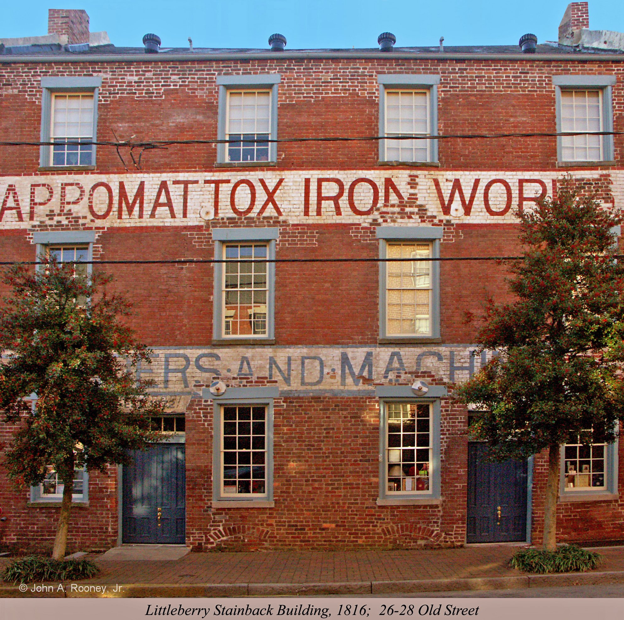 The Appomattox Iron Works machine shop was one of the few buildings spared in Petersburg's fire of 1815. It is the city's last remaining example of a commercial building in which the living quarters were housed in an apartment under a separate roof.