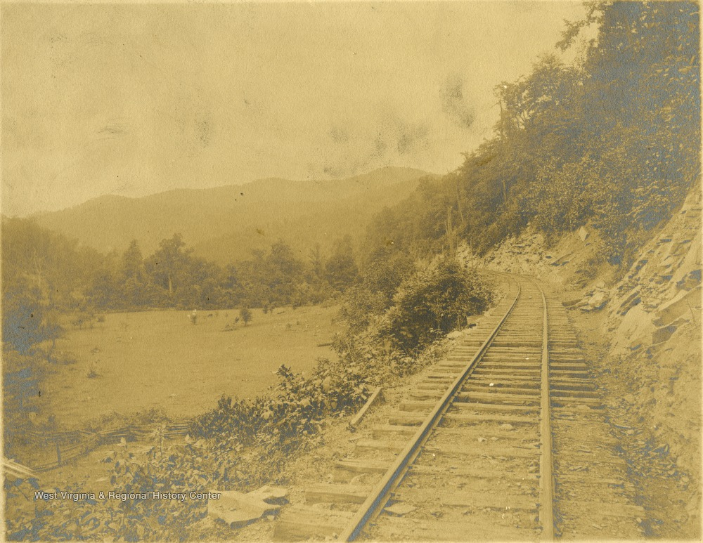West Virginia Midland Railroad along Grassy Creek in the area of Diana, 1908.