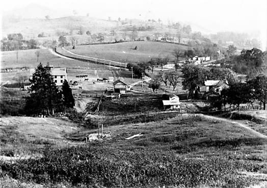 View of the Haywood Junction  from the hill behind the camp