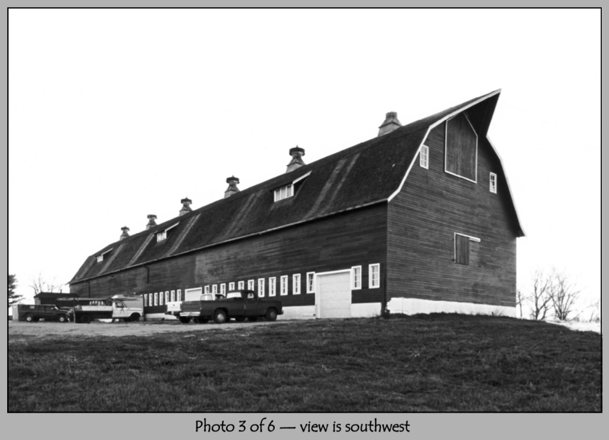 Southwest view of the barn.  This picture has been modified from its PDF format.