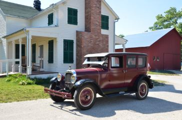 A 1927 Nash sedan on display at the farmhouse