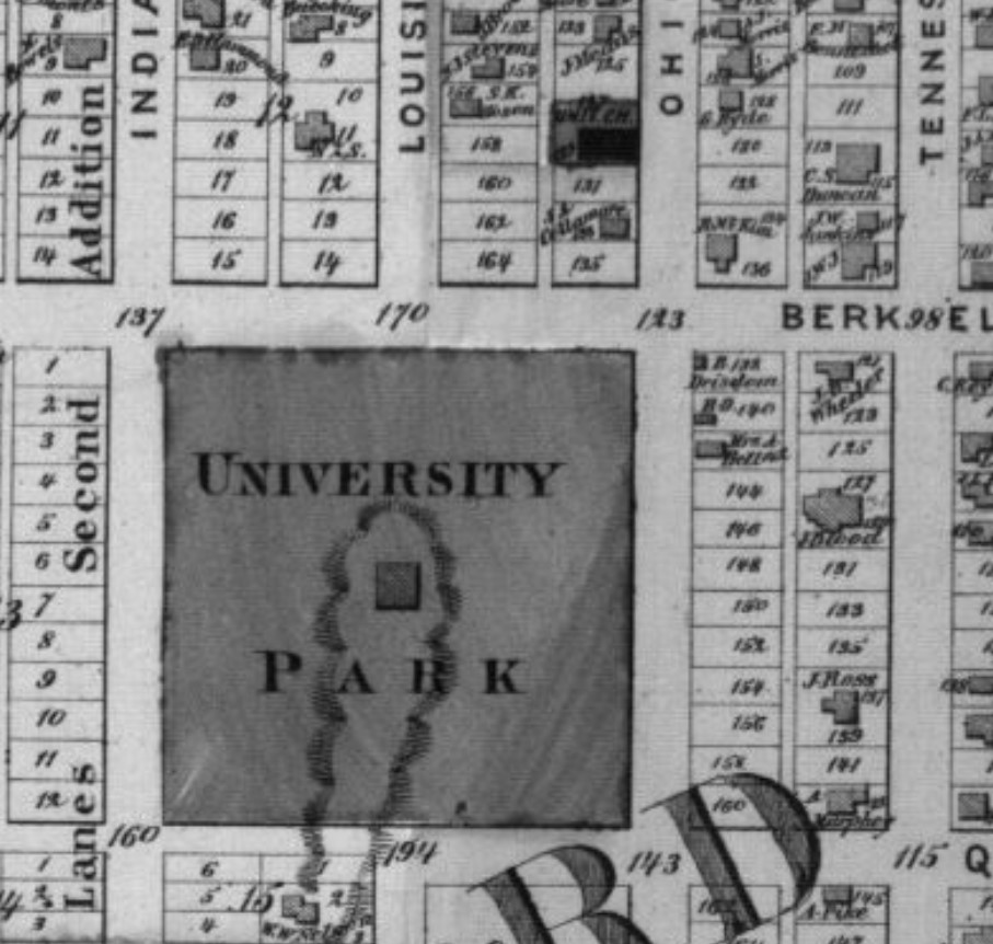 Bell House and University Park neighborhood in Second Ward in 1873 (Beers Atlas p. 33)
