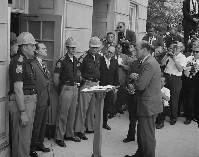 The confrontation between George Wallace and Deputy U.S. Attorney General Nicholas Katzenbach, who was tasked by President Kennedy for force Wallace to step aside.