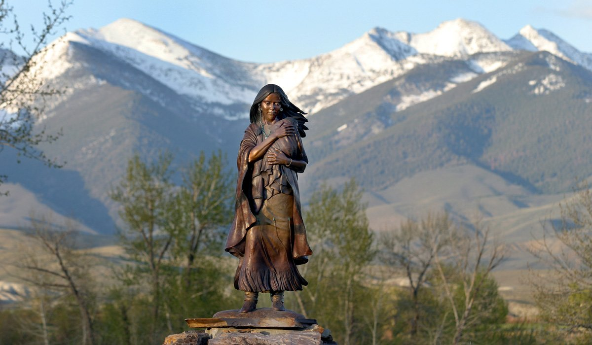 """SACAGAWEA CAST IN BRONZE NEAR SALMON, IDAHO. PHOTOGRAPHY BY JIM FOSTER"""