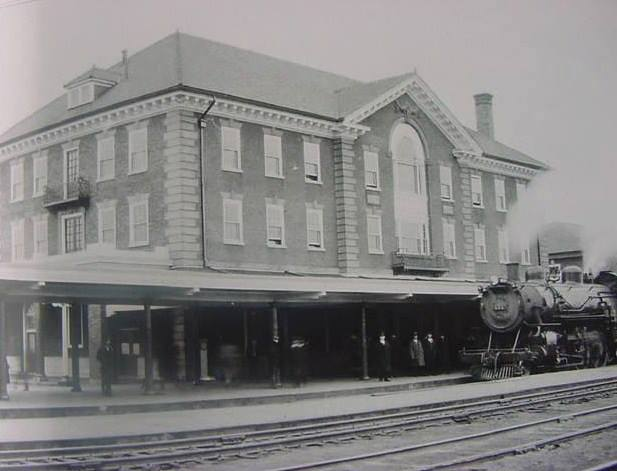 Passenger train at the station in 1923