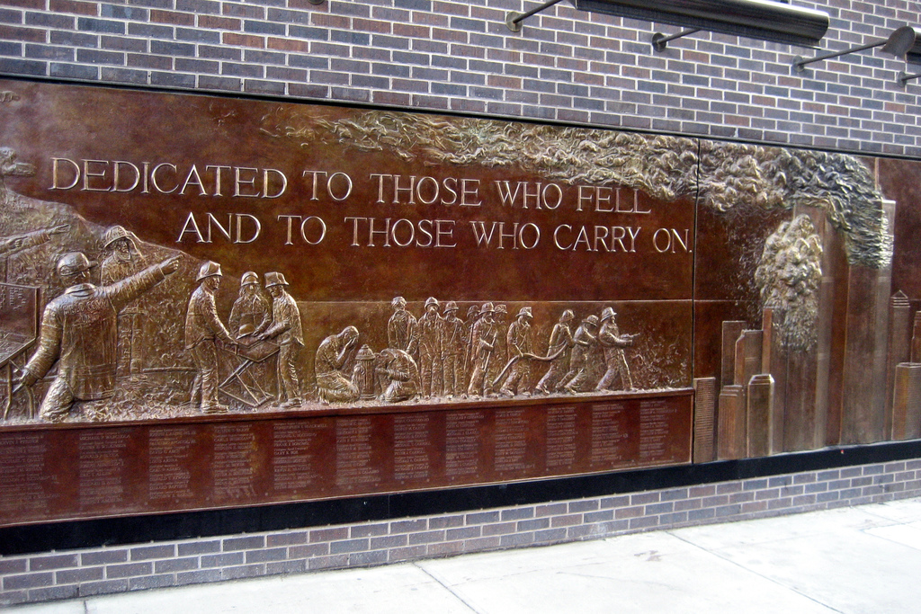 This Memorial Wall was dedicated in 2006 to the 343 NYFD members and volunteer firefighter Glenn Winuk who lost their lives on September 11, 2001.