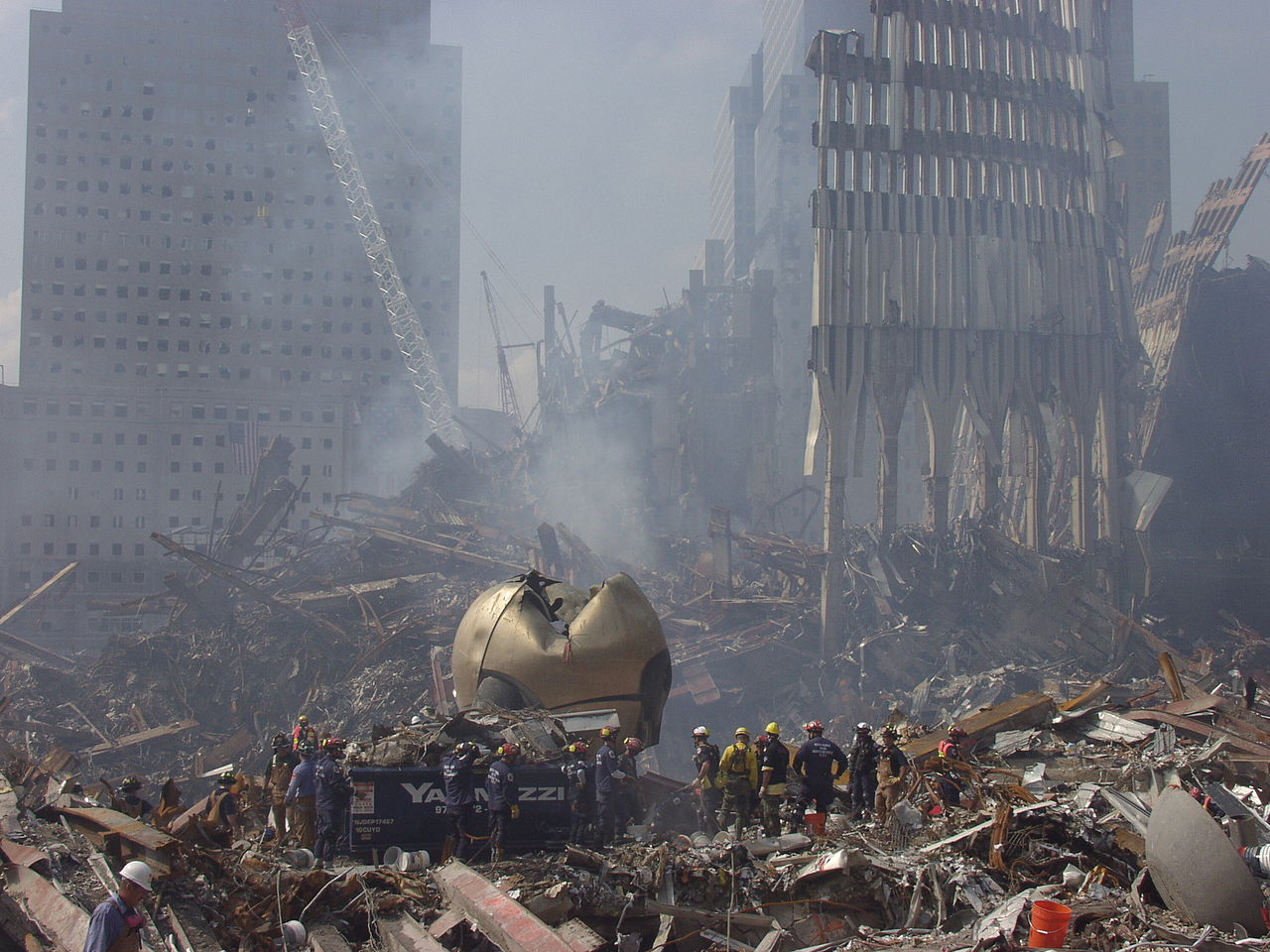 The Sphere was badly damaged by the September 11th attack. Its reconstruction and rededication became a symbol of hope.