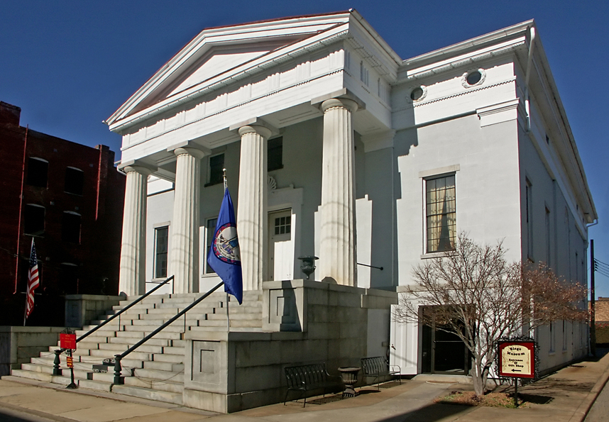 With its columns and white exterior, the Exchange Building is a beautiful example of Greek Revival architecture. Photo by Petersburg Museums.