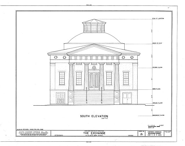 The Historic American Buildings Survey (HABS) documents architectural measurements, as shown here in this drawing.