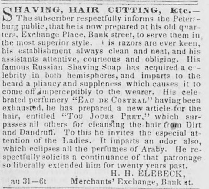 Henry Elebeck advertises his business in the Exchange Building in 1855. From the Library of Virginia.