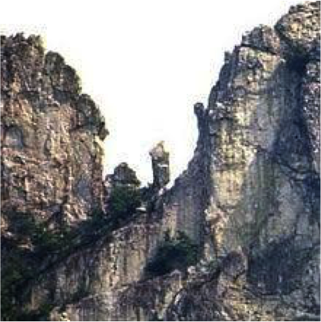 "Left, The ""Gendarme,"" Seneca Rocks, 1985. A gendarme is a rock peak on a mountain that blocks and occupies a ridge of the mountain."
