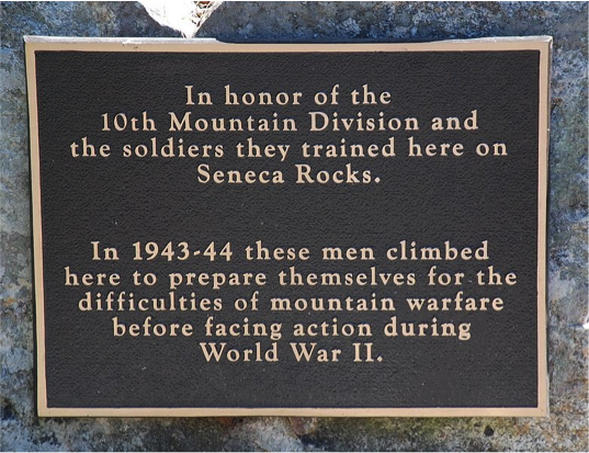 10th Mountain Division historical marker: Location: N 38° 50.038', W 79° 22.438