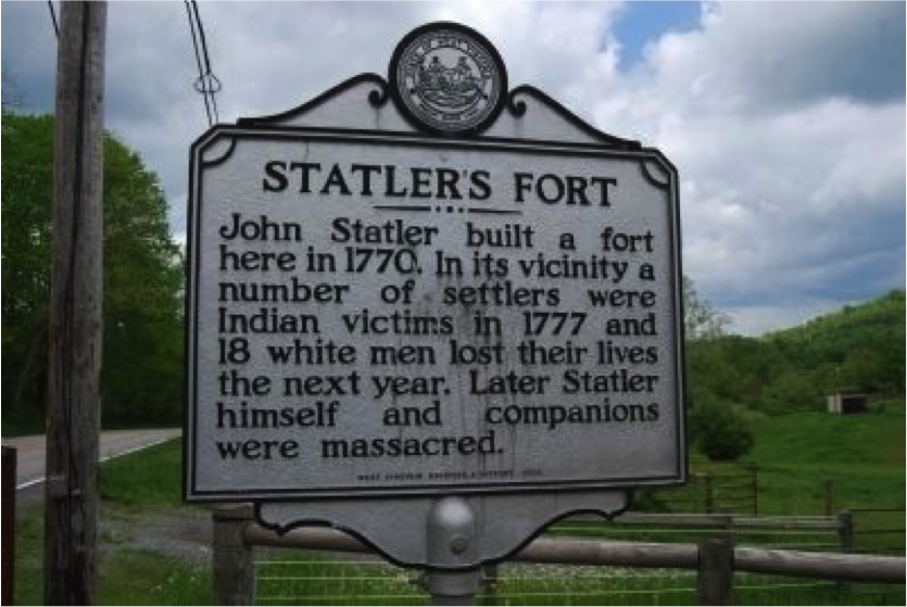 Statler's Fort Historical Marker near Blacksville, West Virginia, in Monongalia County. The marker is on Mason Dixon Highway / WV 7,  0.4 miles west of Mooresville Road. 39° 42.761′ N, 80° 8.261′ W