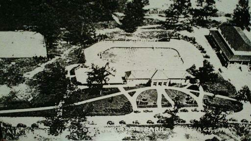 Municipal Park's tennis court, swimming pool and park pavilion (now skating rink) seen in aerial postcard (c.1936-7) from 175th Anniversary of Carthage exhibit at the Powers Museum in 2017.