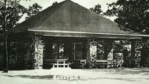 WPA-built field rock picnic shelter in Municipal Park.