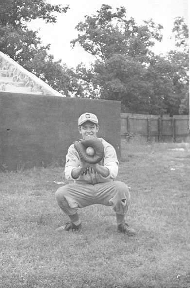 Baseball player Sam Dixon inside the WPA-built rock stadium at Municipal Park. Collection of Powers Museum.
