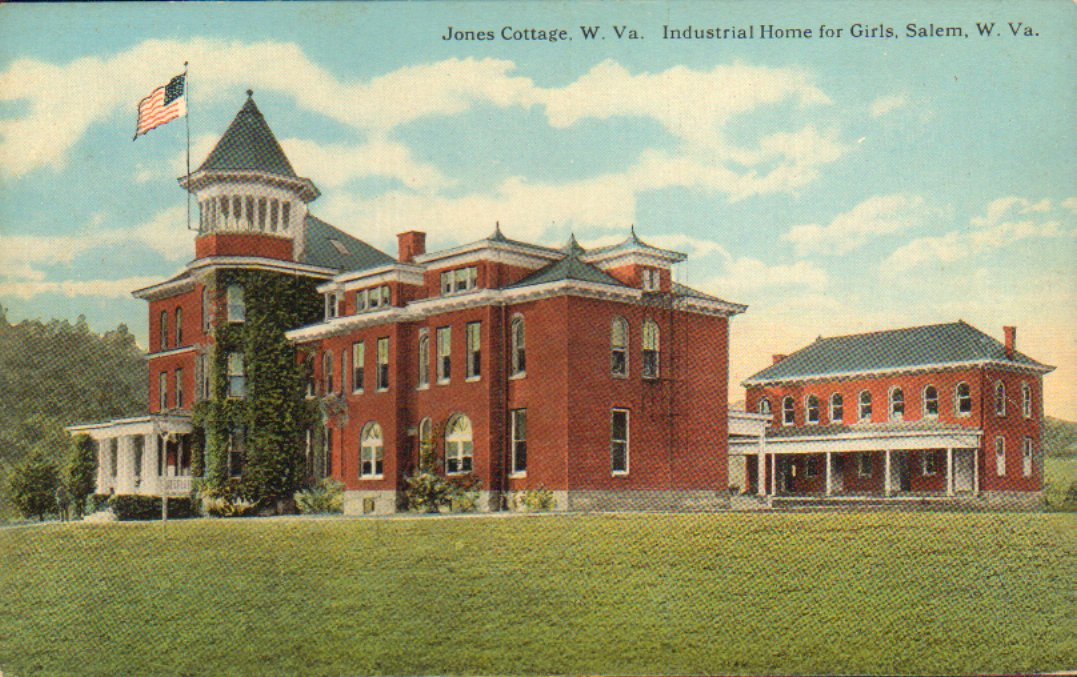 Color postcard of the Jones Cottage at the West Virginia Industrial Home for Girls. The Cottage is Queen Anne in style and was the first building constructed on the campus. The cottage was named in honor of the school's founder, Dr. Harry B Jones