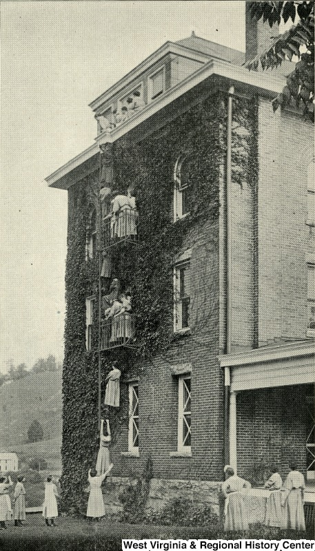 Fire Drill at the West Virginia Industrial Home for Girls in June 1916. Courtesy of West Virginia & Regional History Center