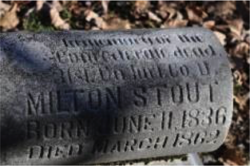 A gravestone at the cemetery of Camp Allegheny