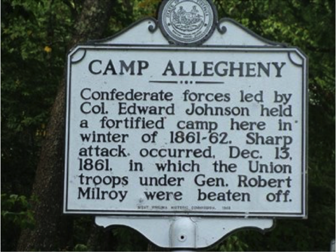 Camp Allegheny historical marker.