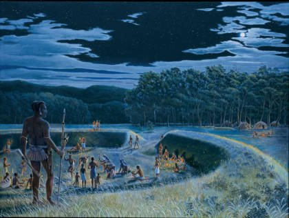 Painting of what an Adena ceremonial gathering may have looked like. Adena culture stretched from Ohio, Indiana, West Virginia, and Kentucky, to parts of Pennsylvania and New York. Courtesy of Ohio History Connection.