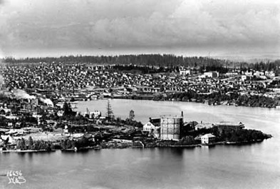 Browns Point gas manufacturing plant in 1910 before it closed down.