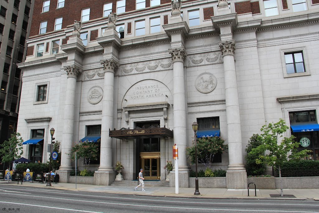The Arch Street entrance to the building with its Corinthian columns topped by granite eagles.