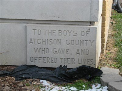 The plaque showing thanks to the men of Atchison County for their service to their country. The Missouri General Assembly supported the memorial building and by providing a grant of matching funds from Atchison County.