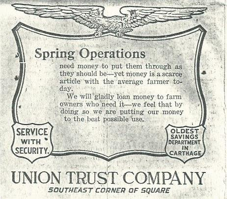 1922 Advertisement from the Union Trust Company from the Carthage Evening Press,