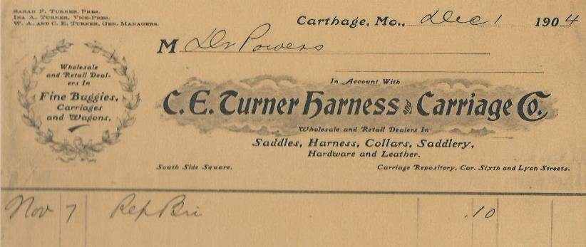 1904 Invoice for C. E. Turner Harness & Carriage Co., Sarah Turner, President. The bill is for repair of a horse bridle. The Turner store eventually expanded to include furniture, luggage and other goods.