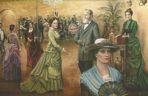 Mural on west wall of the Burlingame and Chaffee Opera House (visible from mall walkway in middle of south side of square). Webb City artist John Biggs painted an 1879 scene that took place at the opera house.