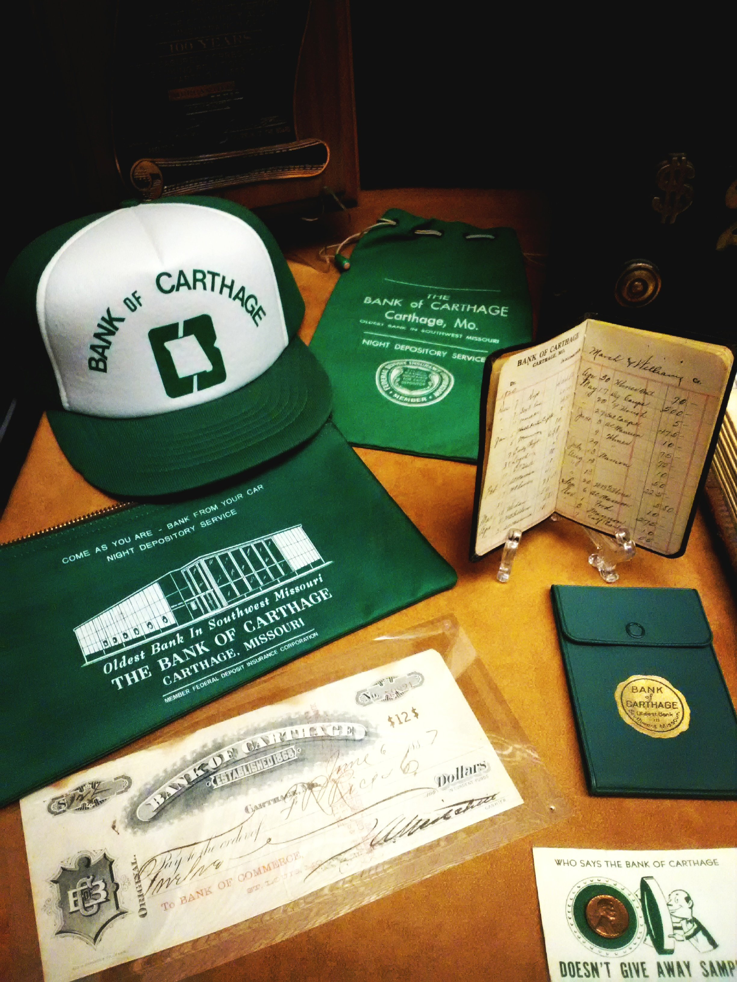 Except for 1887 check and 1920 deposit book in this grouping, all other items are associated with the second Bank of Carthage building and were on display in 175th Anniversary of Carthage Exhibit at Powers Museum in 2017.