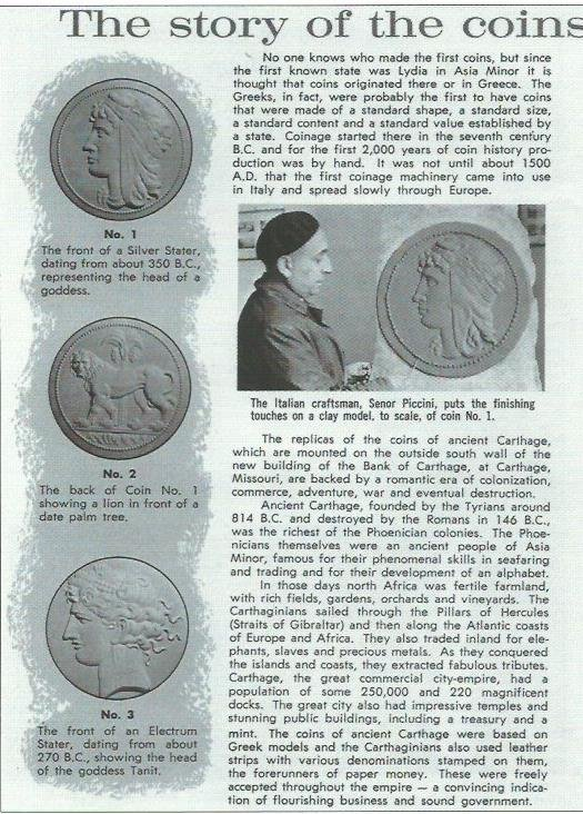 Brochure Bank of Carthage published about the coin sculptures on the building written by Richard Ferguson.