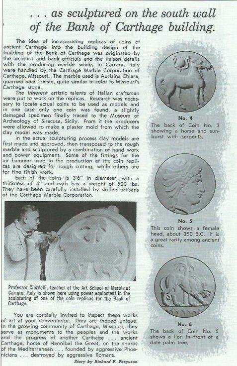 Second page about the coin sculptures on the building written by Richard Ferguson.