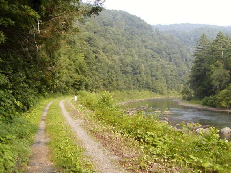 The Greenbrier River Trail runs alongside the Greenbrier River for 78 miles.